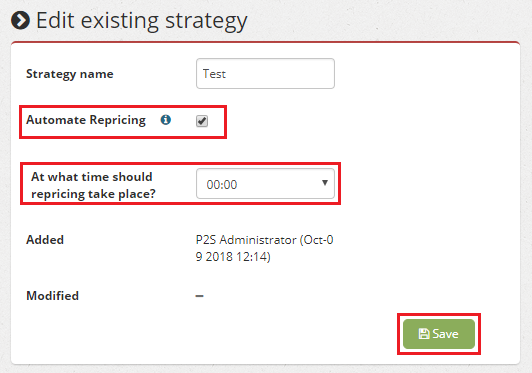 Automated repricing edit