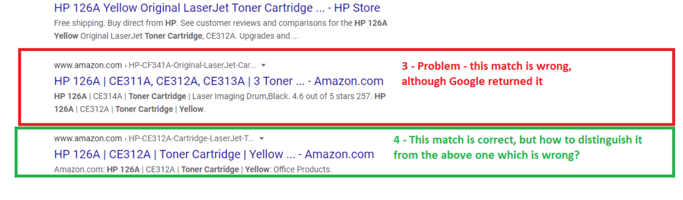 problems with product matching on google search